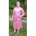 PVC Plastik - Mantel Regenmantel Damen modern Klettkragen Pink gepunktet