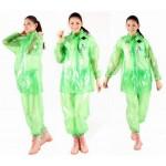 PVC Plastik - Anzug Regenanzug Damen modern 2-teilig Klettkragen grün gepunktet C888G