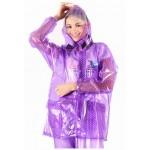 PVC Plastik - Anzug Regenanzug Damen modern 2-teilig Klettkragen lila purple gepunktet C888L