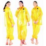 PVC Plastik - Anzug Regenanzug Damen modern 2-teilig Klettkragen gelb gepunktet C888Y