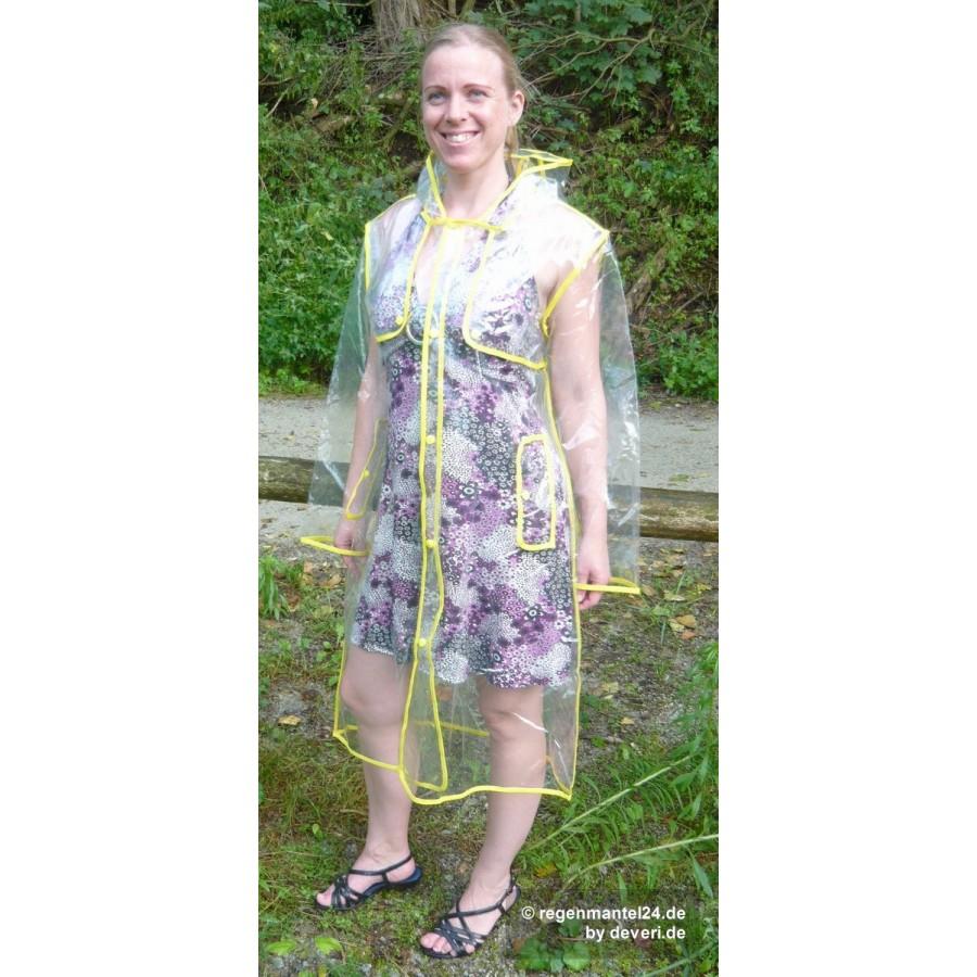 plastik mantel regenmantel damen fashion type l glasklar transparent rand gelb l. Black Bedroom Furniture Sets. Home Design Ideas