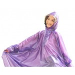 Plastik - Schlupf-Regenmantel Cape-Mantel MJ-001 Lila Purple transparent