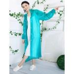 PVC Plastik - Mantel Regenmantel Damen QA9015GT grün transparent gepunktet