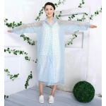PVC Plastik - Mantel Regenmantel Damen QA9015NATB transparent mit blaue Punkte XXXL