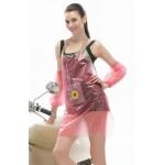 PVC - Schürze mit Armschutz pink mit Punkte für Friseur Putzen Haushalt Basteln apronflowerpink66 - LAGERWARE