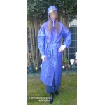 PVC Plastik Mantel Regenmantel Folienmantel Damen Retro Blau JD LAGERWARE