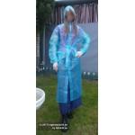 PVC Plastik Mantel Regenmantel Folienmantel Damen Retro Blau transparent JD LAGERWARE