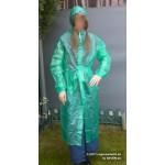 PVC Plastik Mantel Regenmantel Folienmantel Damen Retro Grün transparent JD LAGERWARE