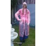 PVC Plastik Mantel Regenmantel Folienmantel Damen Retro Rosa transparent JD - LAGERWARE