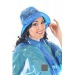 PUL PVC Plastik - Hut Regenhut HW01 BLG1 Blau transparent glatt LAGERWARE