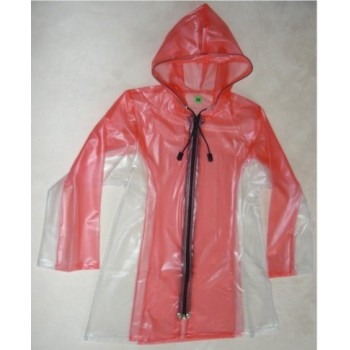 PUL PVC - Kinder - Regenmantel Reißverschluß KR6 Rot & Natur transparent M LAGERWARE