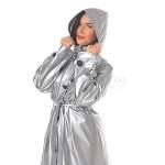PUL PVC - Alltags - Mantel Regenmantel Plastikregenmantel RA63 SLP1 L silber - LAGERWARE