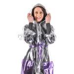PUL PVC - Mantel Regenmantel Folienmantel Plastikregenmantel RA78 NAG1 glasklar mit Wunschkontrastfarbe