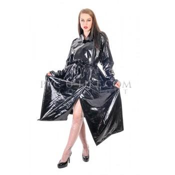 PUL PVC Plastik - Trenchcoat Regenmantel schwarz RA82 DOUBLE BREASTED MAC
