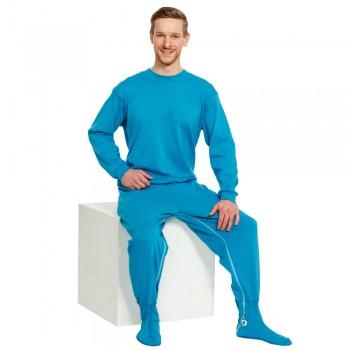 Suprima 4709-080 - Pflegeoverall Baumwolle/Polyester, lang, Bein-RV, Rücken-RV, mit Fuß petrolblau - LAGERWARE